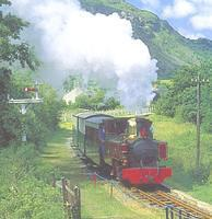 photo of Russell & train in green scenery