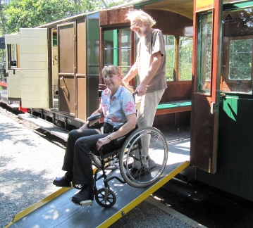 Wheelchair access into carriages is via a ramp