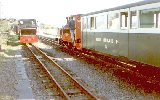 the coach in a train at Porthmadog station